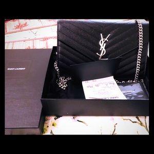 Yves Saint Laurent Black Monogram Chain Wallet
